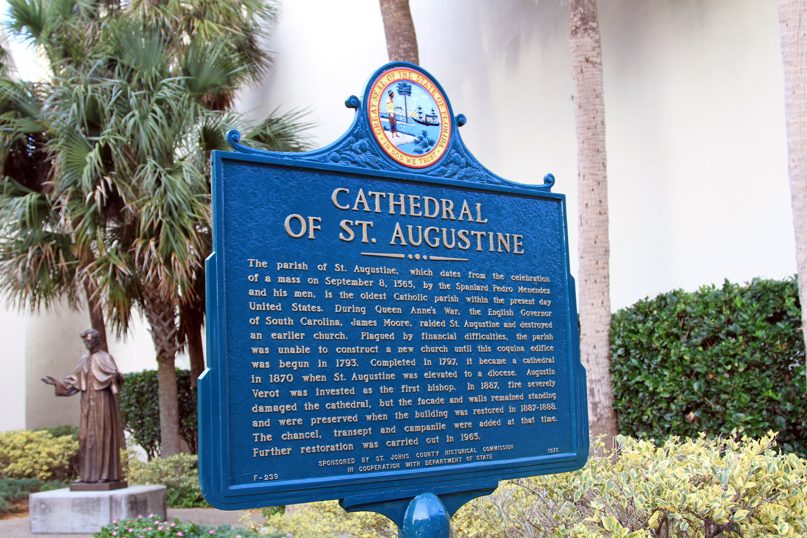 a history of catholic religion in saint augustine florida The cathedral basilica of st augustine is a historic cathedral in st augustine, florida, and the seat of the catholic bishop of st augustine it is located at cathedral street between charlotte and st george streets constructed over five years, it was designated a us national historic landmark on april 15, 1970 its congregation, established in.