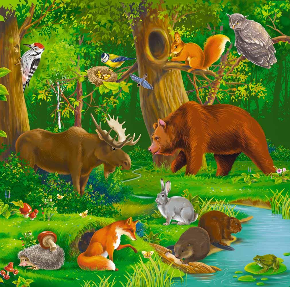 Картинки лесных зверей зимой