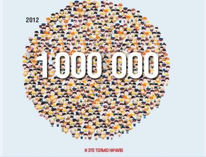 Днем, открытка нас 1000000